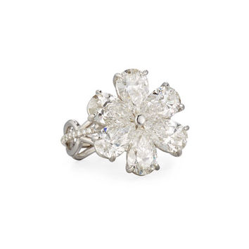 Rahaminov Diamonds Modern Pear-Shaped Diamond Flower Ring, Size 6.5