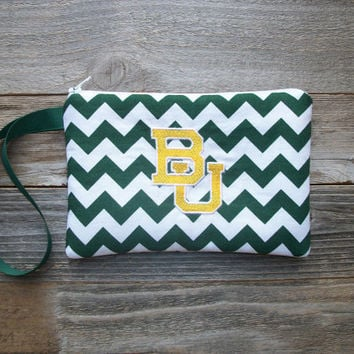 BU (Baylor Bears) Wrist Bag/Wristlet, Coin Purse, Cotton, Padded, 5 x 7 inch (Embroidered)