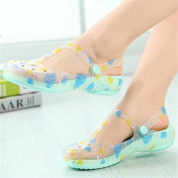 Candy color women sandals summer print hole slipper women's beach home jelly sandals sweet flat shoes flats for ladies