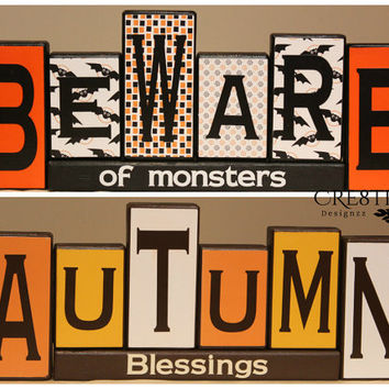 Reversible Wood Blocks Decor for Thanksgiving/Halloween~ Autumn Blessings & Beware of monsters