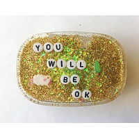 You Will Be Ok Shower Art in Yellow Glitter