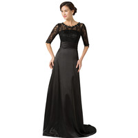 Wedding Outfits Mother of the Bride Dresses with Lace Sleeves Brides Mother Dresses Evening Dress Pearls Floor Length Black Gown
