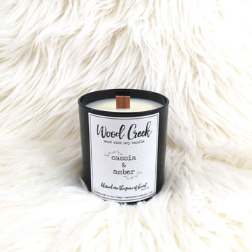 Cassia & Amber Wood Wick Soy Candle in Black Glass Jar