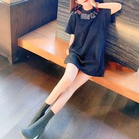 """""""Fendi"""" Women Casual Fashion Letter Embroidery Short Sleeve T-shirt Top Tee"""