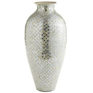 Tall White & Silver Mosaic Urn Vase
