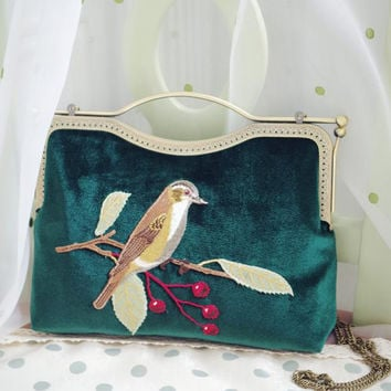 Handmade Vintage-style Velvet Clutch Bag with Bird Flower Embroidery Beautiful Bird Velvet Clutch Four Colors