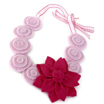 Princess Pink Flower Girl Necklace- Dress-up Girl Accessories