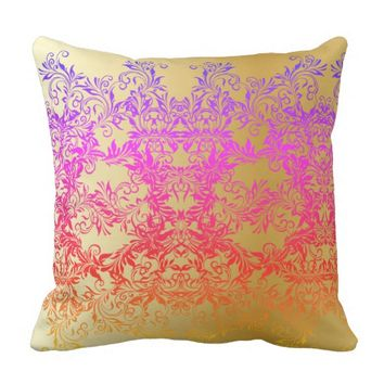 Decorative Baroque Damask Gradients Ornaments Throw Pillow