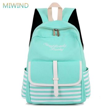 MIWIND 2017 Fashion Striped Laptop Backpacks Canvas School Bags For Teenage Girls Printing Backpack Women Bag Mochilas CB262