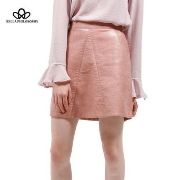 Spring New Quality Pu Faux Leather Women High Waist Skirt Pink Yellow Black Back Zipper Pockets