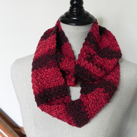 Hibiscus crochet infinity scarf, shades of red crochet cowl scarf #494, ready to ship, includes cotton gift bag