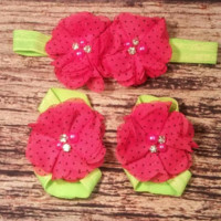 Hot pink Polka Dot and Lime Green Baby Girl Headband and Barefoot Sandal Set!