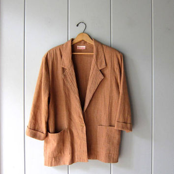 Vintage ADOBE Brown Blazer Minimal 80s Oversized Thin Fall Jacket Slouchy Modern Textured Cotton Rib Jacket Boxy Layer Jacket Womens XL
