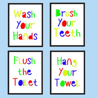 Kids bathroom wall art - Kids bathroom decor - Bathroom rules signs - PRINTABLE - Wash your hands - Brush your teeth - Flush the toilet