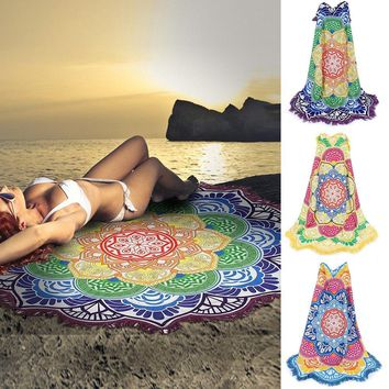 Indian Mandala Tapestry Lotus Tassel Bohemian Beach Rug