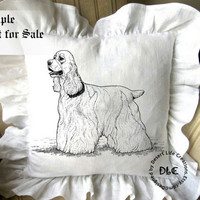 COCKER SPANIEL dc161 - 8x10 inch - Illustration Art for Transfers, Pillows, Fabrics, Prints, Arts and Craft Projects - Instant Download