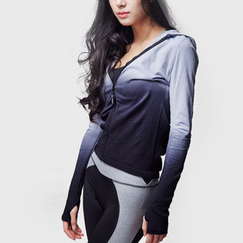 Women Long Sleeve Sport Suit Fitness Professional Sportswear Stretch Exercise Yoga  Gradient Color Top _ 6774
