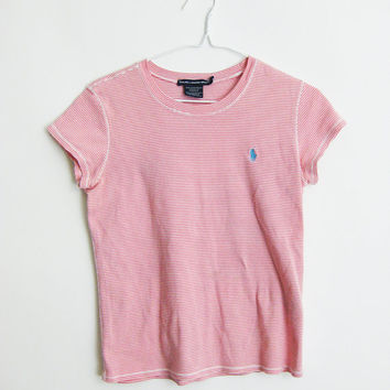 90s Pink Ralph Lauren Breton Stripe T Shirt Small Medium