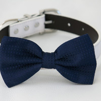 Navy Dog Bow tie, Pet accessory, Dog lovers, Bow attached to dog collar, Navy wedding accessory, Navy bow, Dog bow tie, Cat bow tie