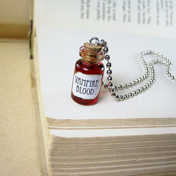 Vampire Blood 1ml Glass Bottle Necklace - Glass Cork Vial Pendant - V Vampire's Blood Halloween Charm