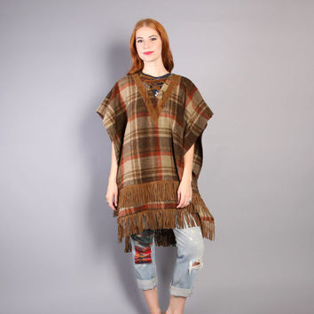 70s FRINGED Wool PONCHO / Brown & Rust Plaid with Suede LEATHER Fringe Cape