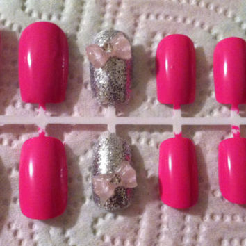 Pink, Light pink and blue sparkle nails from SmartArtt on Etsy