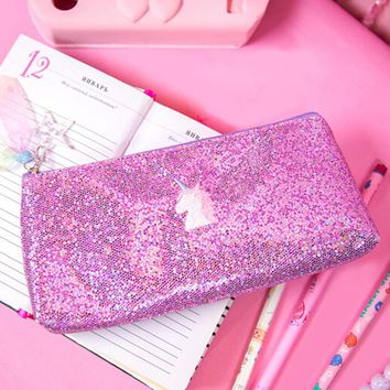 Cute Harajuku Sequins Embroidery mini makeup bag Laser bag Student Pencil Case  Pouch Cosmetic Pencil Bags