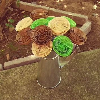 Paper Flower Bouquet - Lime Green, Light Brown & Ivory -  Handmade Rolled Paper Flower Bouquet for Brides, Weddings, Showers, Anniversaries