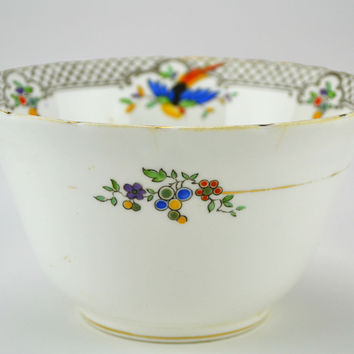 Sugar Bowl with Colourful Birds by Tuscan china Vintage English 1920s