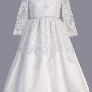 Lace Tiered Girls Satin Communion Dress w. Lace Sleeves 6-12