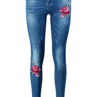 Sofia Floral Embroidered Skinny Jeans