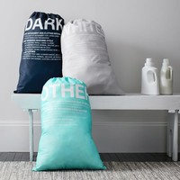 Easy Sort Laundry Bags, Set of 3, Aqua/Navy/Gray