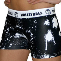 Volleyball White Splat Printed Flip Waist-Band Spandex Compression Shorts