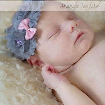 Kylie Flowers Headband, Newborn Baby Girl Headband, Gray Flowers, Vintage Couture, Toronto, Canada