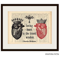 Anatomy loving heart Charles Dickens quote dictionary print  - on Upcycled Vintage Dictionary page - by NATURA PICTA