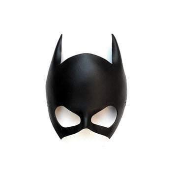 Leather Mask Batgirl Batwoman Catwoman Black Super Hero Gift Sexy Masquerade Cosplay Carnival Halloween Mardi Gras Batman Costume Party
