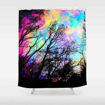 Black Trees Colorful space. Shower Curtain by 2sweet4words Designs
