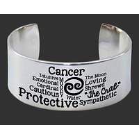 Cancer Word Art Zodiac Bracelet