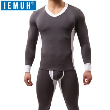IEMUH Mens Winter Thermal Underwear Sets Male Winter Plus Thick Warm V-neck Undershirts Trousers Modal Man Long Johns Quick Dry