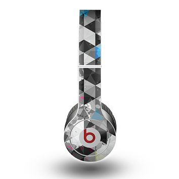 The Modern Black & White Abstract Tiled Design with Blue Accents Skin for the Beats by Dre Original Solo-Solo HD Headphones