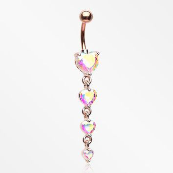 Rose Gold Radiant Heart Sparkle Cascade Chandelier Belly Button Ring