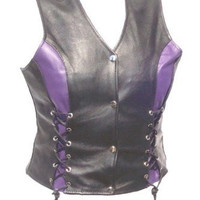 Womens Motorcycle Naked Leather Vest Black with PURPLE  Accents Side Laced