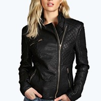 Tammy Quilted Faux Leather Biker Jacket