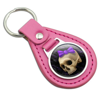 Girlie Punk Skull Pink Leather Keychain