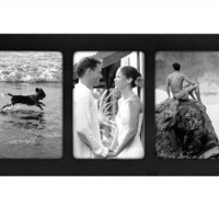 """Malden Linear Black 3-Opening Wood Picture Frame, 4""""x6"""""""