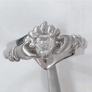 Preowned 14K White Gold Claddagh Ring - 0.25 Carat Heart Shaped Diamond