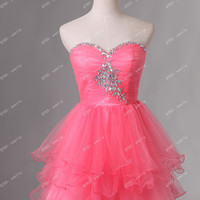 Short prom dress/homecoming dress/prom dress/evening dress provide custom size/custom color