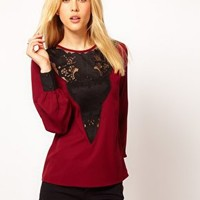 ASOS Blouse With Lace Yoke Insert at asos.com