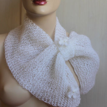 Hand Knitting White Scarf / Ready to Shipping /