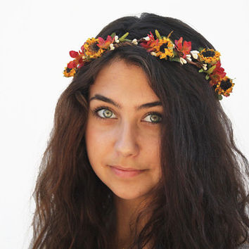 Sunflower Crown - Fall Wedding, Flower Crown, Sunflower Headband, Autumn Wedding, Yellow, Orange, Hair Wreath, Circlet, Flower Girl, Bridal